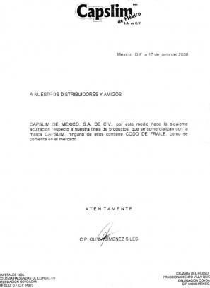 Comunicado de Prensa, aclaración de contenido de riesgo